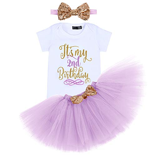 Costume da bambina per neonata, con 3 pagliaccetto e vestito da principessa in tulle, gonna e fiocco con fascia per capelli Viola chiaro (2 anni) 2 Anni