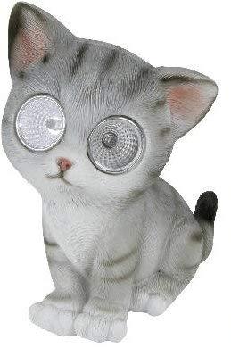 bb10 Schmuck Katze mit Solar-Augen Dekokatze Solarfigur 17 cm groß Gartenfigur mit Solarfunktion