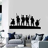 Niños soldado tatuajes de pared silueta arma militar tema de guerra vinilo pegatinas de pared niños dormitorio sala de juegos decoración del hogar