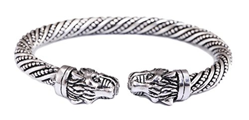 Teamer Pulsera de cabeza de leopardo diseño de animales, accesorios de moda, pulsera de vikingo, brazalete para hombre