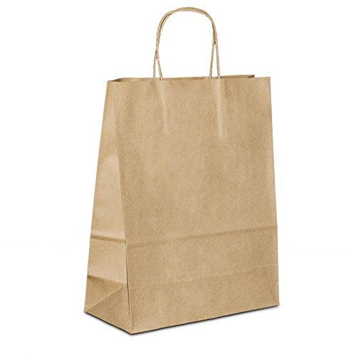 100 x Kleine Kraftpapiertüten braun 18+08x22 cm | stabile Werbetaschen | Papiertüten kaufen Kordelhenkel | Einkaufstasche klein | HUTNER