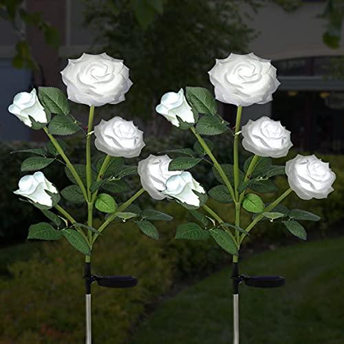 Luci solari per fiori di rose - Lampade solari da giardino per esterni con 10 fiori - Illuminazione decorativa impermeabile per vialetto d'accesso del cortile del patio del recinto(2 pezzi, bianco)