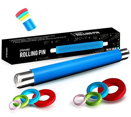 Oriamo® Silikon Teigrolle - Antihaft Nudelholz - BPA freie Fondant Rolle für Pizza & alle weiteren Teigwaren - Der Teigroller kommt in Einer edlen Geschenkverpackung (Blau)