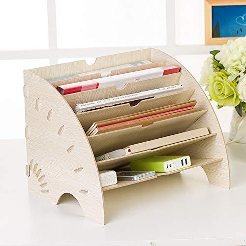 Organizador de escritorio archivador de madera, bandeja de correo para libros, revistas, 6 capas, cajas de almacenamiento, multifunción, portadocumentos