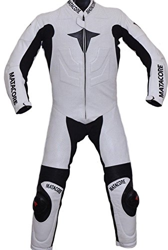 MATACORE New White Motorcycle Leather Racing Suit CE Approved Protection (4XL)