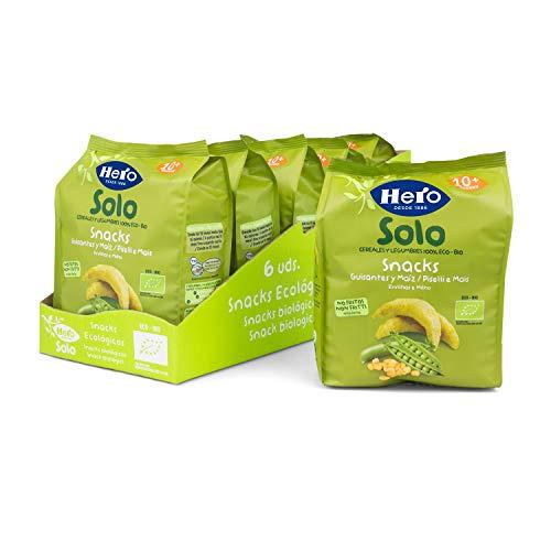 Hero Solo - Snacks de Guisantes y Maíz, No Fritos y sin Sal Añadida, para Bebés a Partir de los 12 Meses - Pack de 12 x 50 g