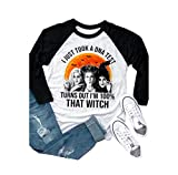 TAIUICY - Maglietta da Donna con Scritta I Just Took A Dna Test Turns out Im 100% That Witch Raglan Baseball Tee Sanderson Sisters Athletic Shirt - Grigio - L
