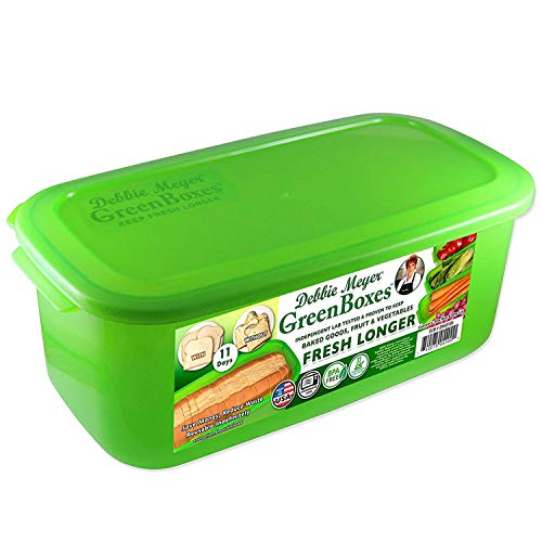 Debbie Meyer GreenBoxes – BreadBox keeps Baked Goods, Snacks, Fruits, and Vegetables Fresh Longer, Reusable, BPA Free, Made in USA
