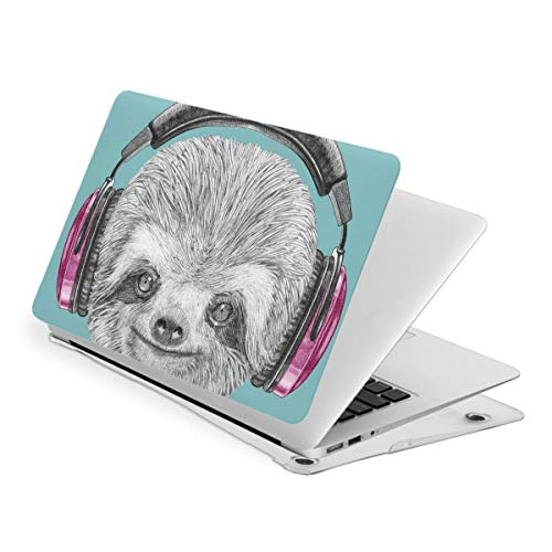 Laptop Case for MacBook, DJ Sloth Portrait with Headphones Laptop Computer Hard Shell Cases Cover (new air13 / air13 / Pro13 / Pro15)