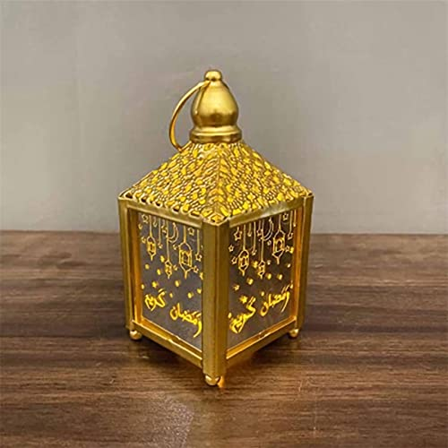 Solar Net Lights, Elegant Square Ramadan Hanging Lights, Garden Light Bulbs Mubarak Element Lights Festival Lights Outdoor are Suitable for Garden Outdoor Decoration. Retro Design (Color : Gold)