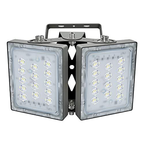 60W LED-Sicherheitslicht, 5400LM Superhell LED Fluter Flutlicht Außenstrahler, IP65 Wasserfest, 5000K Tageslicht, 2 Flutlicht mit verstellbarem Kopf unter, für Garten, Garage, Hotel ect.