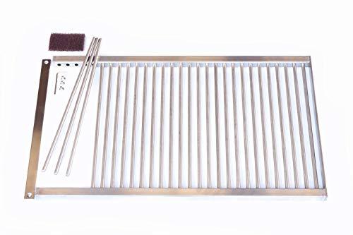 Kirschner Metallbau GRILLROST Maßanfertigung ZERLEGBAR 6mm - 8mm Stäbe Edelstahl Grill Rost rostfrei (Hakengriffe)
