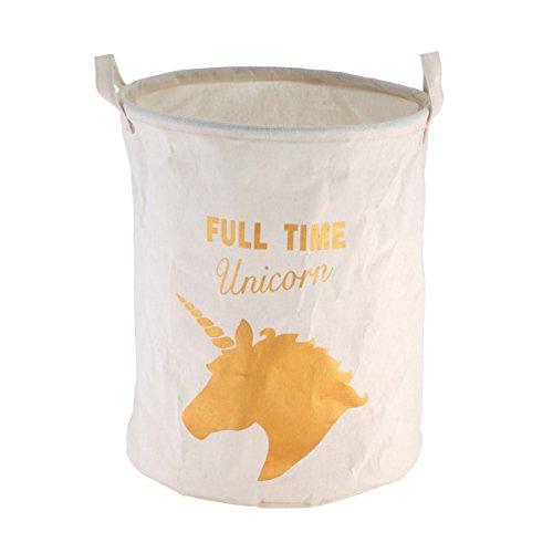 Ribelli Einhorn Wäschekorb weiß + goldenem Unicorn-Print ca. 40 Liter - Wäschesammler Textil - Höhe ca. 45 cm - auch zur Aufbewahrung von Spielzeug geeignet