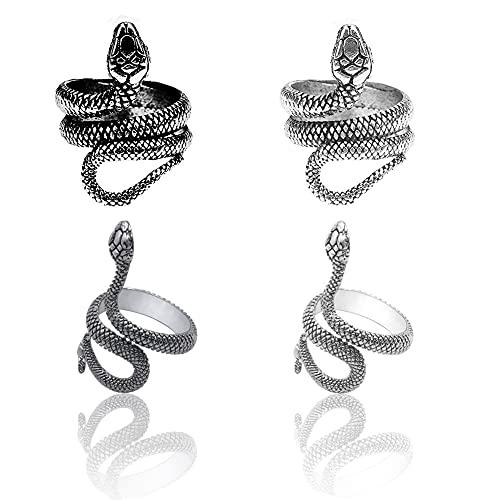 Juego de anillos de serpiente, punk, punk, serpiente, ajustable, vintage, ajustable, para hombre y mujer, 4 unidades.