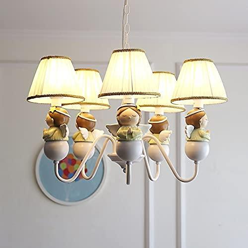 Araña del ángel americano para niños infantiles de hadas de oración con alas de la estatua lámpara de techo plegable lámpara plegable linterna suave iluminación 5 vela colgante de pared para niño niño
