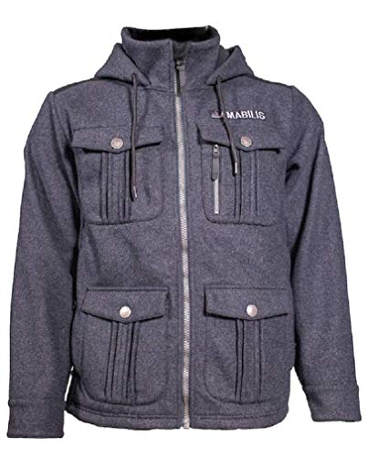 AMABILIS Men's Heavy Metal Hooded Jacket, Steel Wool Gray - Medium