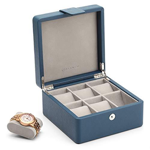 Vlando Uhrenaufbewahrung, Uhrenbox PU Leder aus Holz Travel Watch Vitrinenhalter Organizer Box mit 6 abnehmbaren Uhrenkissen für Schmuck, Uhr, Accessoires-Geschenk für Mann, Frau, Ehemann(blau)