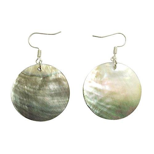 AMOR SPES Natural White Sea Shell Silver Drop Dangle Earrings Women Girl Gift Beach Jewelry (Black)