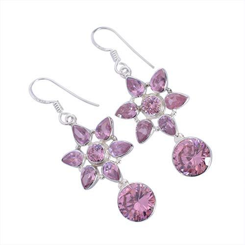 Pendientes colgantes de plata de ley 925 con piedra preciosa de cuarzo rosa hechos a mano, para mujeres FSJ-5466