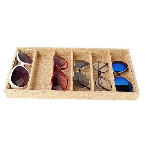Pongnas opbergdoos voor 6 brillenvakken, brillenvakhouder, vitrine met open zonnebril (jute)