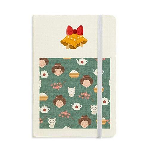 Gato Sakura Arroz Tetera Japón Cuaderno Diario mas Jingling Bell