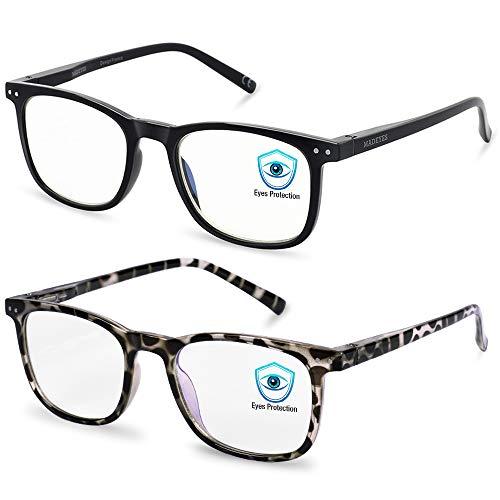 Brille Blaulichtfilter Brille Damen und Herren - 2 Stück Brille Blaulichtfilter Ohne Sehstärke Erwachsene, Gaming Blaulichtfilter Brille, UV Brille PC Gamer Brille, Bestes Brille Geschenke für Damen