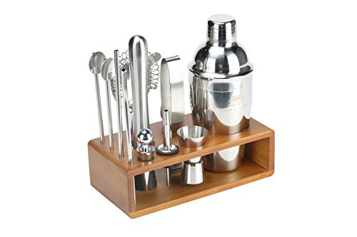 Cocktail Shaker With Bartender Accessories. 13 Piece Stainless Steel Professional Drink Mixer Set.