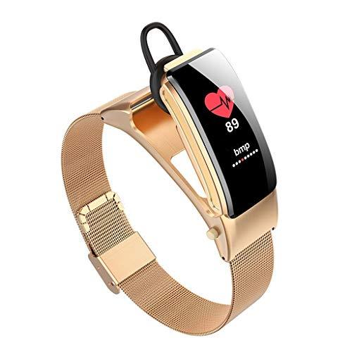 Monitores de actividad Presión pulsera inteligente Auricular Bluetooth impermeable rastreador de ejercicios de voz de control de ritmo cardiaco sangre oximetría podómetro 0,96' pantalla a color para A