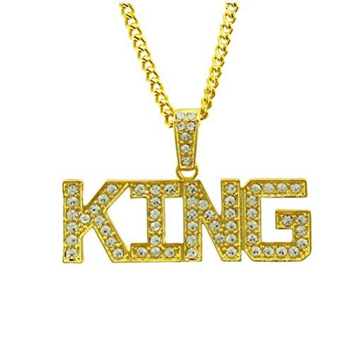 NUOBESTY Rey Colgante Collar Creativo Colgante Inicial Helado Hip Hop Rapero Joyería Cadena de Cuello para Hombre (Dorado)