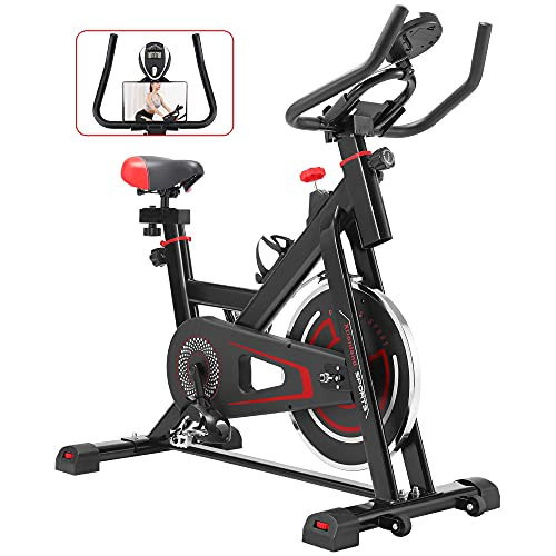 Xtionland Exercise Bikes Stationary 330 Lbs Weight Capacity - Indoor Cycling Bike Stationary Fitness Bike with LCD Monitor&Phone Holder Quiet for Home Cardio Sport Spin Bike Training Cycling