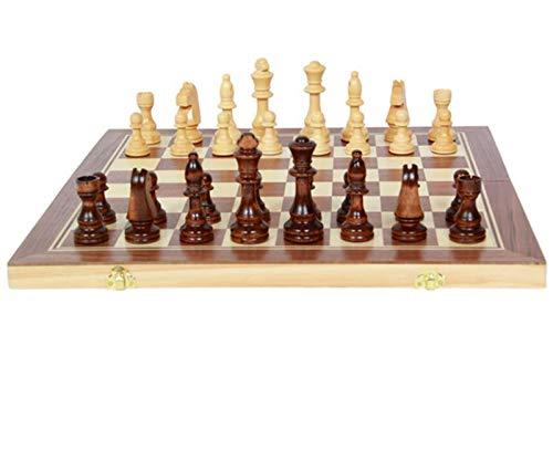 MMADD Conjunto de ajedrez de Madera Plegable, ajedrez de Madera, Juego de cheques de ajedrez, Familia de Regalos para niños