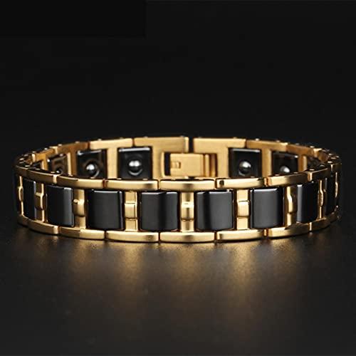 SONGK Pulsera magnética de Equilibrio Saludable para Hombre, Pulseras de Acero de Color Dorado Brillante para Mujer, Brazalete de cerámica Negro/Blanco, joyería