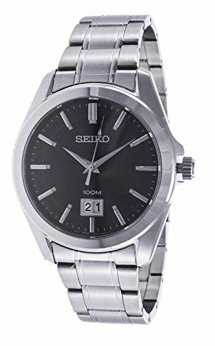 Seiko Herren Analog Quarz Uhr mit Edelstahl Armband SUR009P1