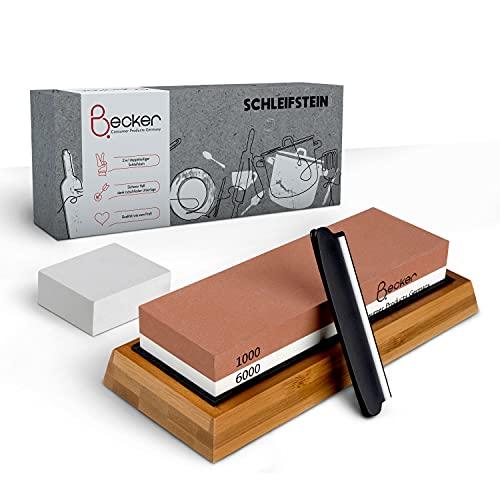 Becker Consumer Products Germany – Schleifstein Messer Set – 2 in 1 Abziehstein Körnung 1000/6000 + Wetzstein zur Nachbearbeitung – Mit Schleifhilfe & rutschfester Unterlage