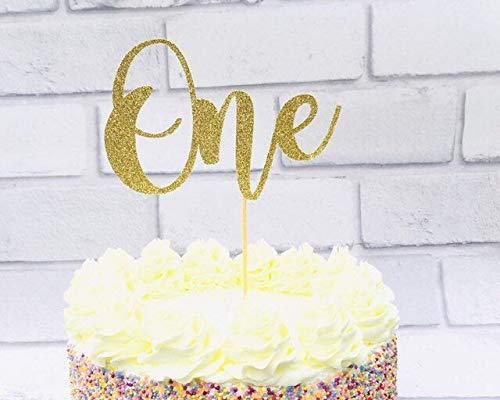 Eén taarttopper, eerste verjaardag, 1e verjaardag, tweede verjaardag, elke leeftijd, eerste verjaardagsfeestdecoratie, één jaar oud, taartdecoratie