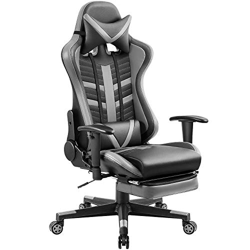 Homall Ergonomic High-Back Racing Chair   Leather Bucket Seat, Headrest, Footrest and Lumbar Support   Black & Gray
