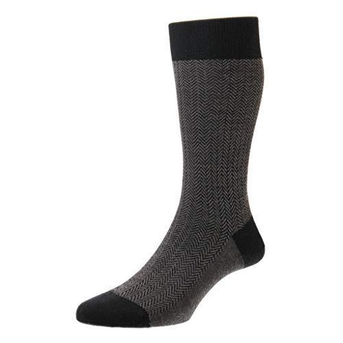 Pantherella Finsbury Herren-Socken aus Merinowolle mit Fischgrätmuster -  Schwarz -  Medium