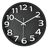 Foxtop 30 cm Moderno Silencioso Cuarzo Redondo Reloj de Pared sin Tic TAC Numeros 3D para ...