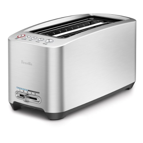Breville BTA830XL Die-Cast Smart Toaster 4-Slice Long Slot Toaster, Brushed Stainless Steel, 14.9 x 7.7 x 7.5 inches