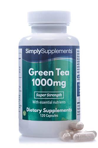 Thé Vert 1000mg | Enrichi en vitamine B1 & Chrome | 120 Gélules|Adapté aux végétaliens | SimplySupplements