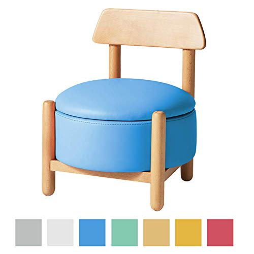 HEWEI Solid Wood Stool Children's Footstool Storage Stool Home Shoe Stool Ottoman Sofa Stool for Bedroom Living Room Office Best Gift for Kids F