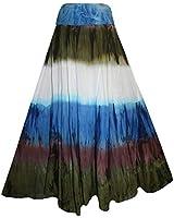 Agan Traders 61 SK Bohemian Boho Cotton Long Tie Dye Maxi Skirt (Medium, Olive Multi)