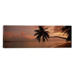 iCanvasART Silhouette of Palm Trees on The Beach at Sunrise Fihalhohi Island