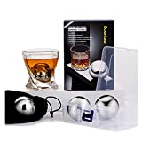 """Ecentaur Whiskey Stones Stainless Steel Ice Cube Metal Reusable Balls 2.2"""" Chilling Stones for Drinks Set of 4"""