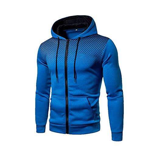 Hombres Chaquetas Sudaderas Abrigos Casual Cremallera Sudaderas Hombre Chándal Moda, Azul 1, XXL