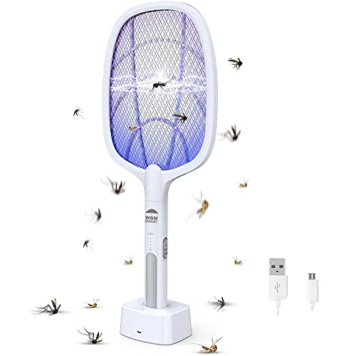 WBM Smart 2-in-1 Bug Zapper, Mosquitoes Trap Lamp & Racket, USB Rechargeable Electric Fly Swatter for Home and Outdoor - Powerful Grid 3-Layer Safety Mesh Safe to Touch, White