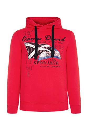 Camp David Herren Kapuzensweater mit Sailing Print, Speed Red, S