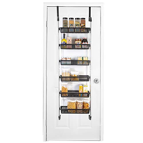 Smart Design Over The Door Pantry Organizer Rack w/ 6 Baskets - Steel & Resin Construction w/ Hooks - Hanging - Cans, Spice, Storage, Closet - Kitchen (18.5 x 63.2 Inch) [Black]