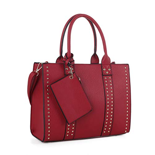 Jessie & James | Concealed Carry Top Handle Handbag | Faux Leather Locking Firearm Purse | Crossbody with Stud Accent | Red