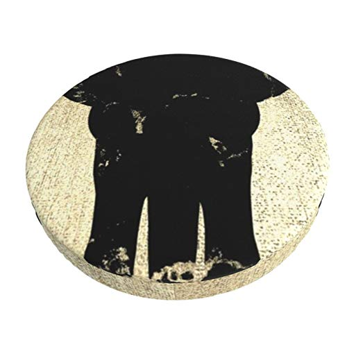 Luase Round bar Chair Cushion Cover Breathable Washable Stool Cover,Elephant Black Marble Champaigne Faux Gold Barstool Seat Covers Elastic Stool Slipcover 13 Inch